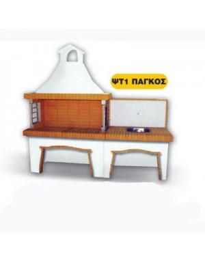 Χτιστή Ψησταριά ΨΤ1 και Νεροχύτης Ελληνικό Πυρότουβλο