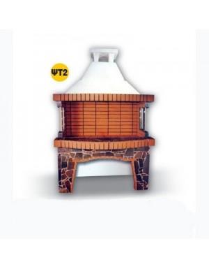 Χτιστή Ψησταριά ΨΤ2 1,50 μ Πέτρα Ελληνικό Πυρότουβλο Ξυλοκάρβουνου