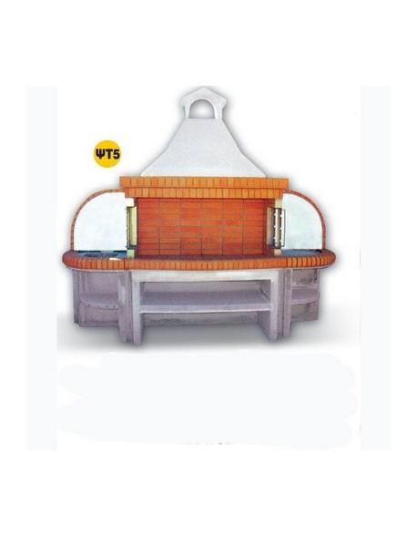 Χτιστή Ψησταριά ΨΤ5  1.50 μ Ελληνικό Πυρότουβλο και Δύο Πάγκοι