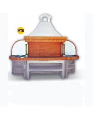Χτιστή Ψησταριά ΨΤ5  1.50 μ Τσεχίας Πυρότουβλο και Δύο Πάγκοι