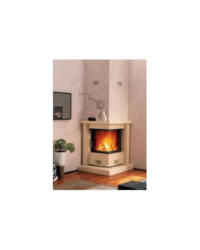 Ενεργειακό τζάκι ξύλου αερόθερμο  ιταλικό PIAZZETTA KW 9 + διακόσμηση